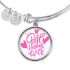 Best Mom Ever Bangle With Circle Pendant - Gift For Mom