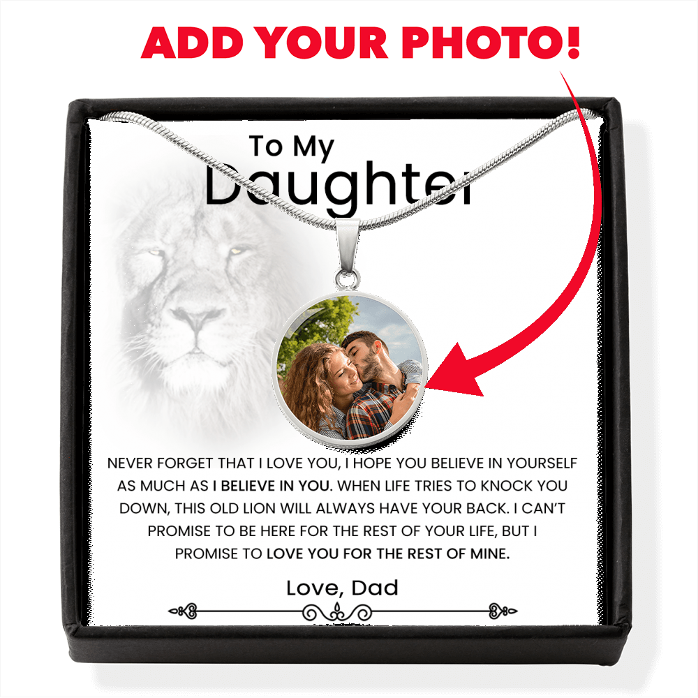 Dad To Daughter Photo Pendant With Personalized Photo