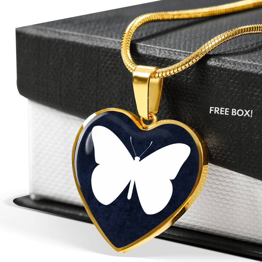 "Luxury Necklace With ""Butterfly"" Heart Pendant"