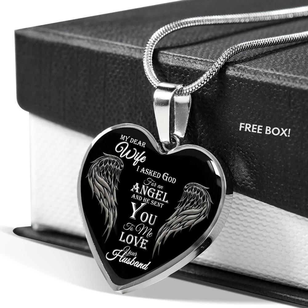 I asked for an Angel From God - Silver Heart Pendant