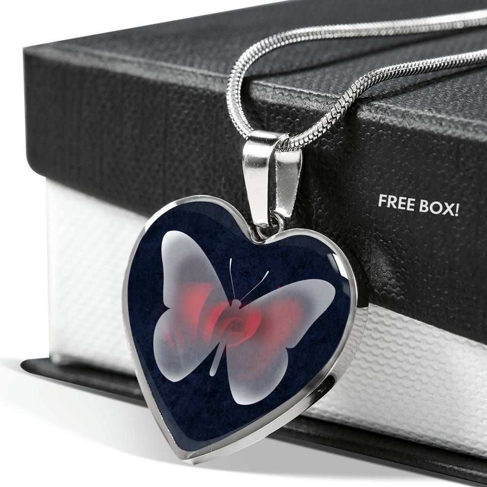 Rose And The Butterfly Luxury Heart Pendant