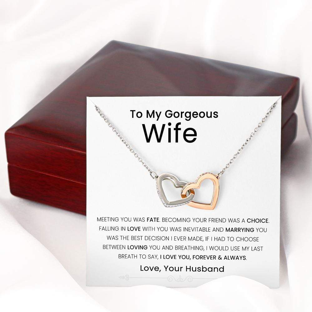 To My Wife Interlocking Heart Necklace