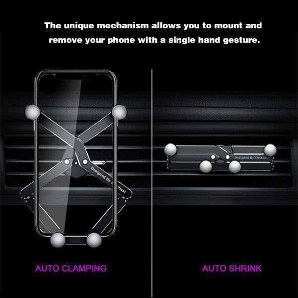 Auto-Clamping Gravity Car Phone Mount