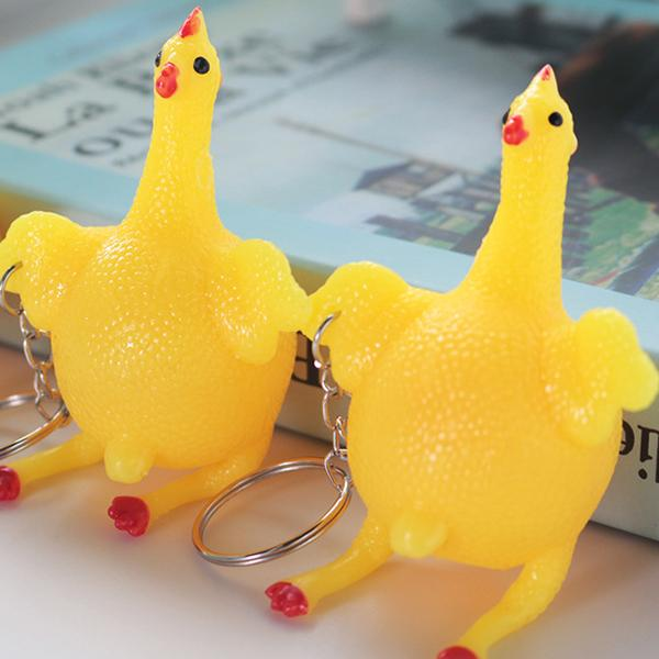 Squeeze Chicken Laying Egg Keychain