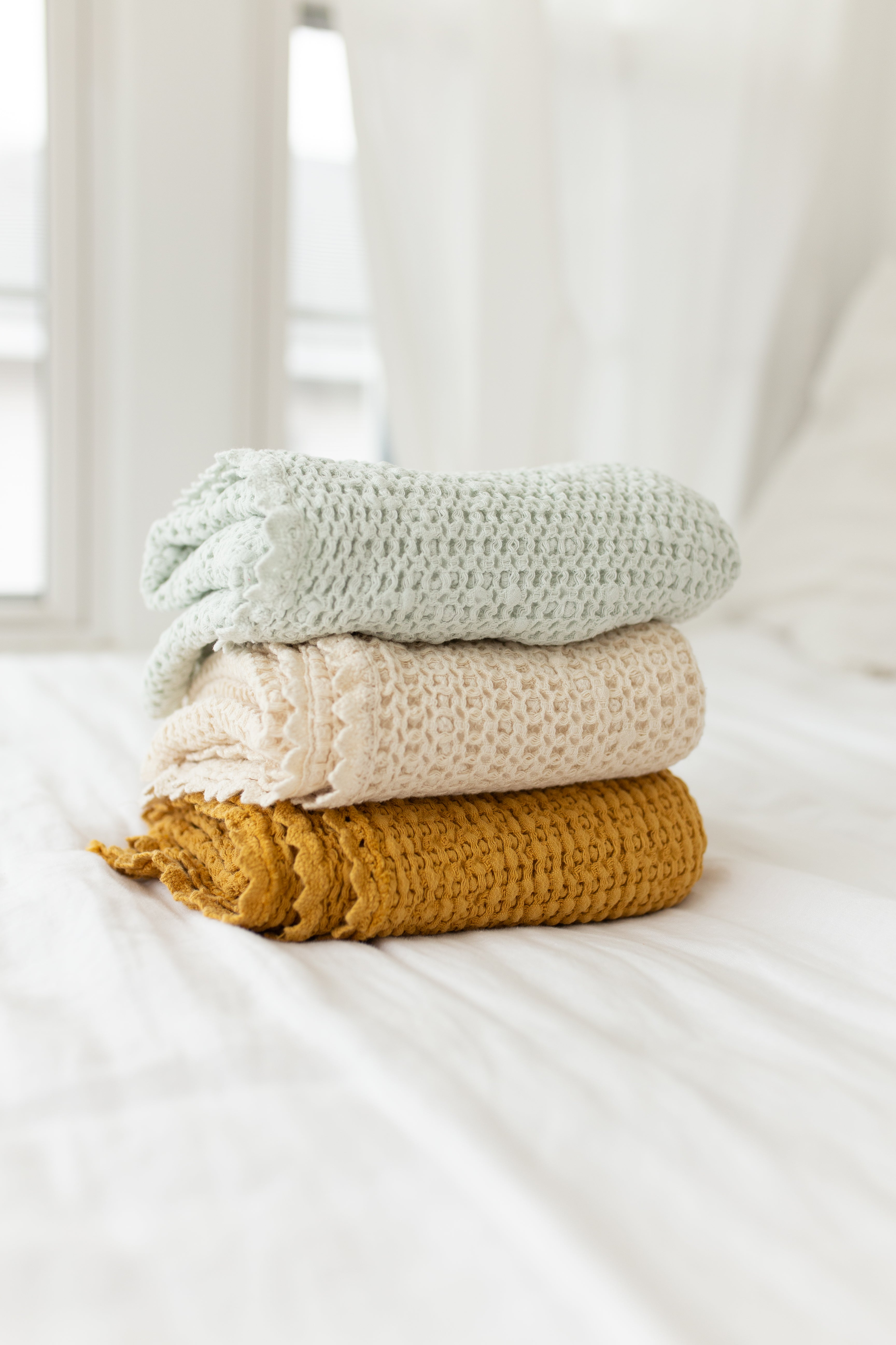 Cozy Organic Cotton Waffle Blanket