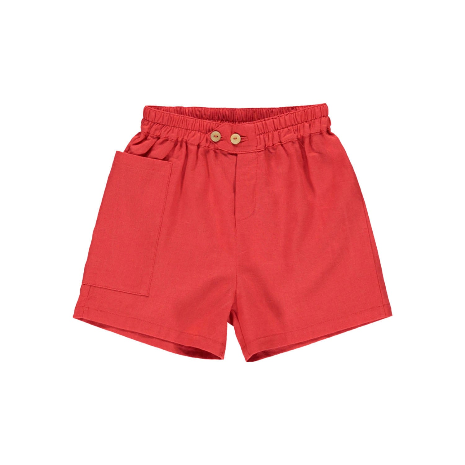 Brick Red High-Waisted Shorts