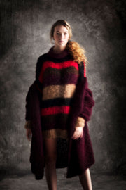 Amano handknit variagated stripe turtle neck sweater