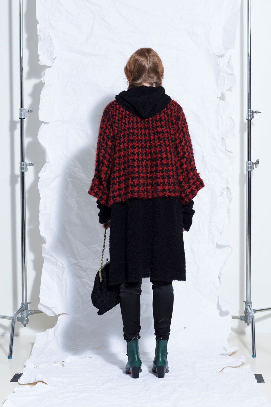 Amano alpaca houndstooth check crop swing jacket