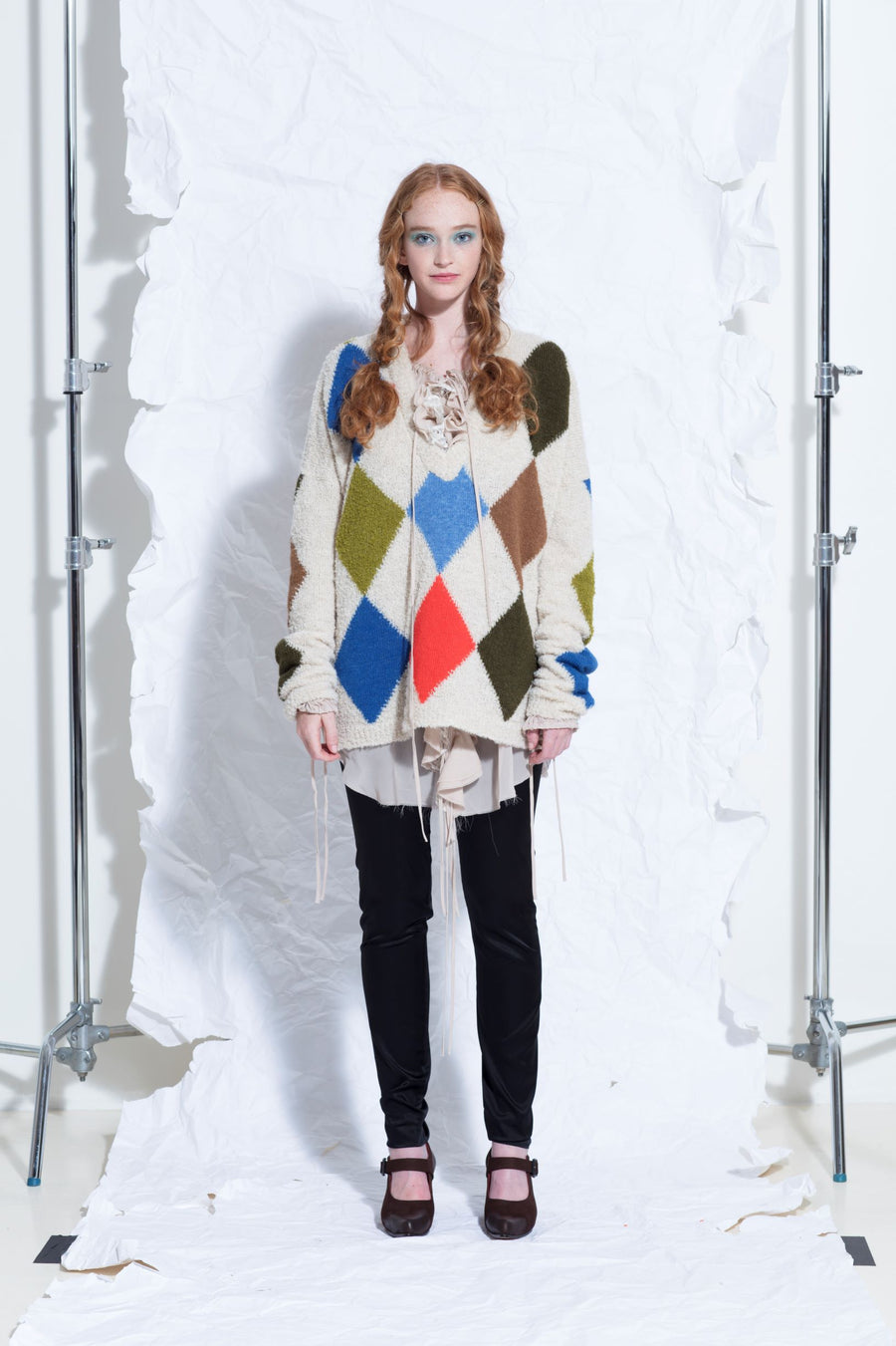 Amano colab harlequin v-neck sweater