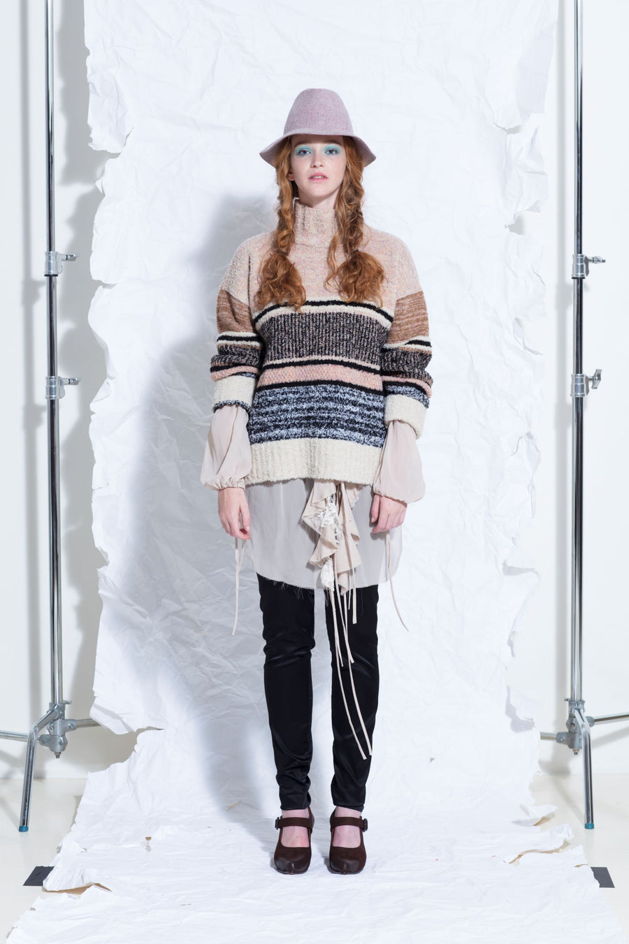 Amano colab alpaca welts and honeycomb turtle neck sweater