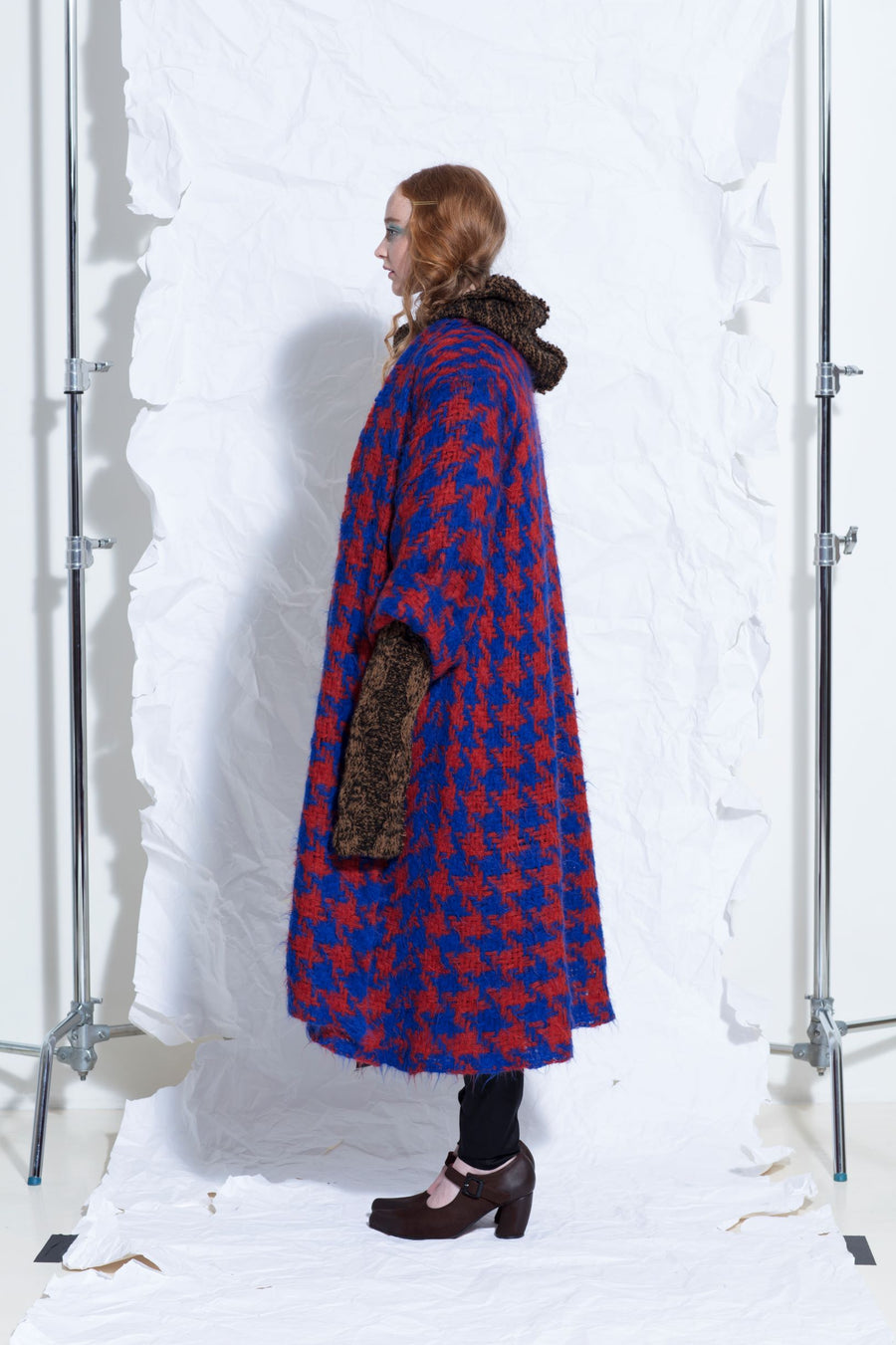 Amano houndstooth weave long line coat