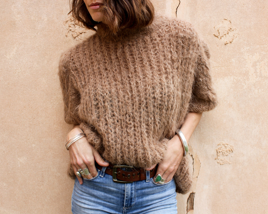 Amano hand knit alpaca cable sleeve sweater