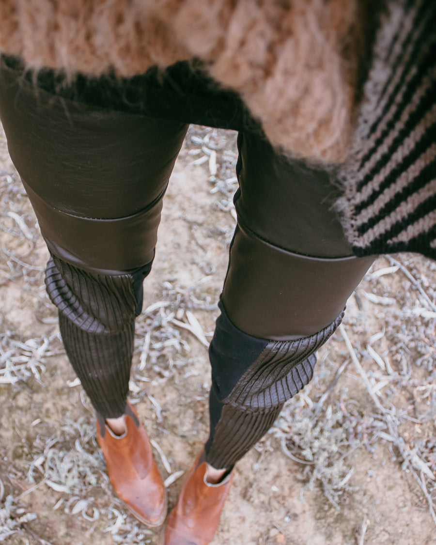 amano by Lorena Laing leather pin tuck leggings