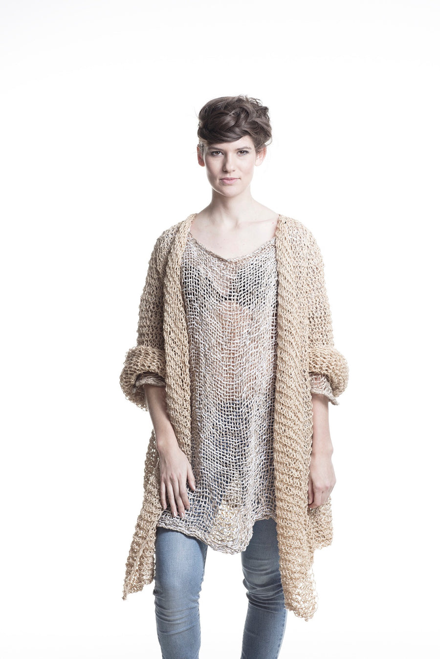 Amano Hand Woven distressed linen tux top