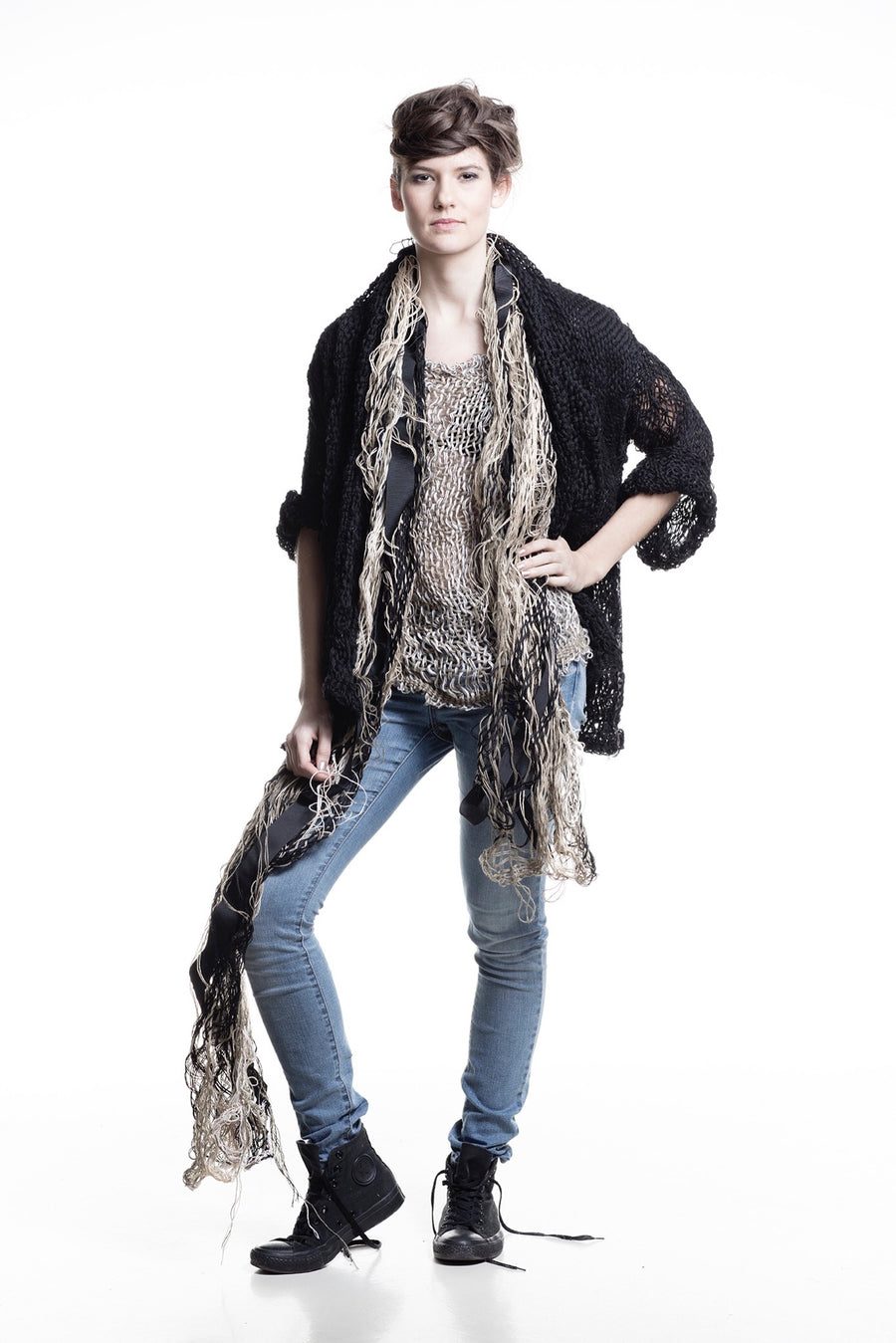 Amano distressed linen, Hand Woven jacket