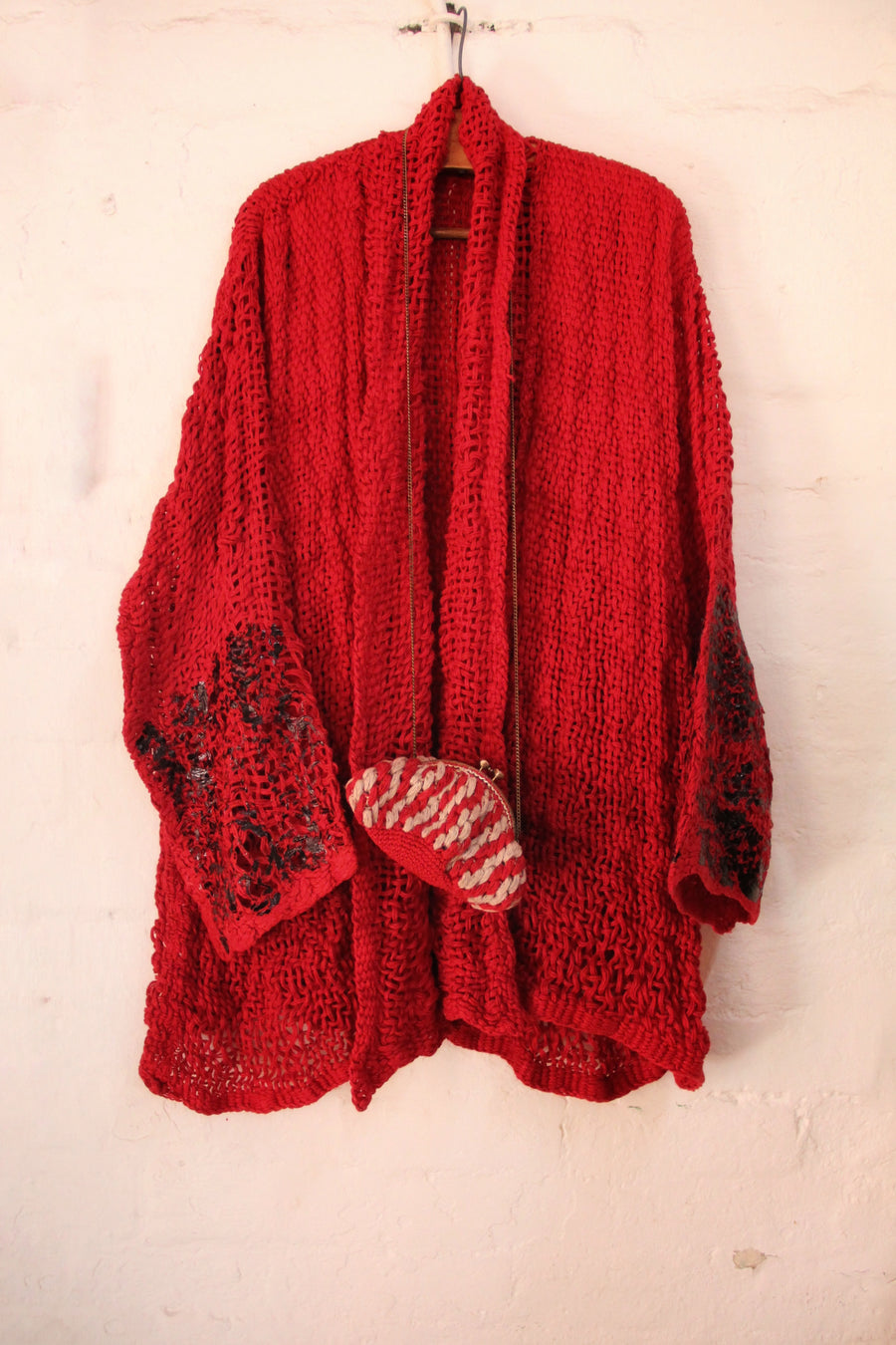 Amano hand loom linen jacket with foil handprint