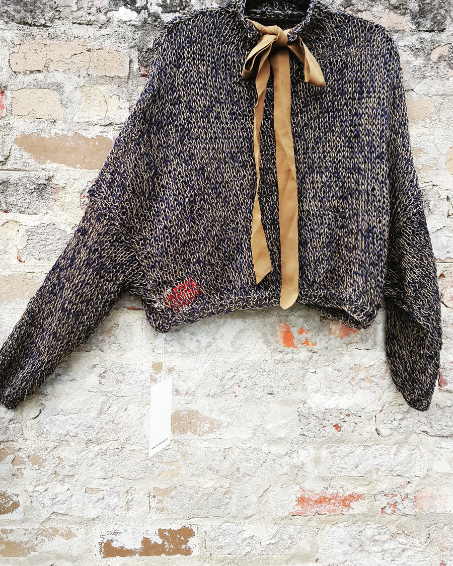 Amano handknit linen batwing sweater with back ties