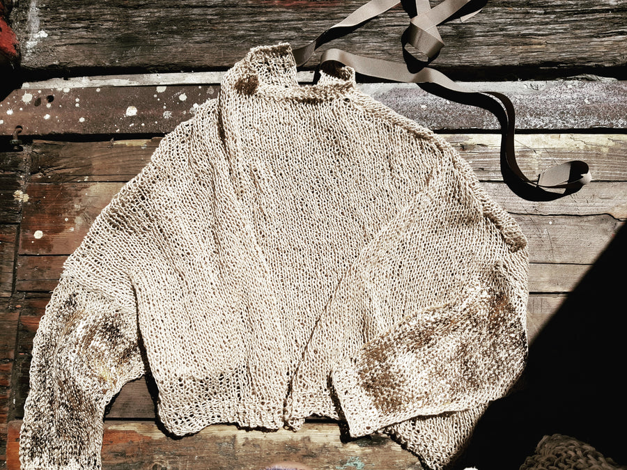 Amano handknit linen batwing top with foil detail