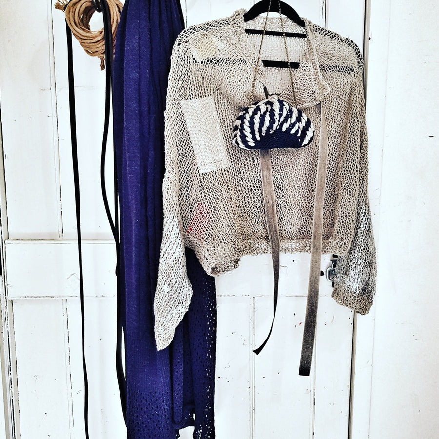 Amano handknit linen batwing top with handprint foil detail