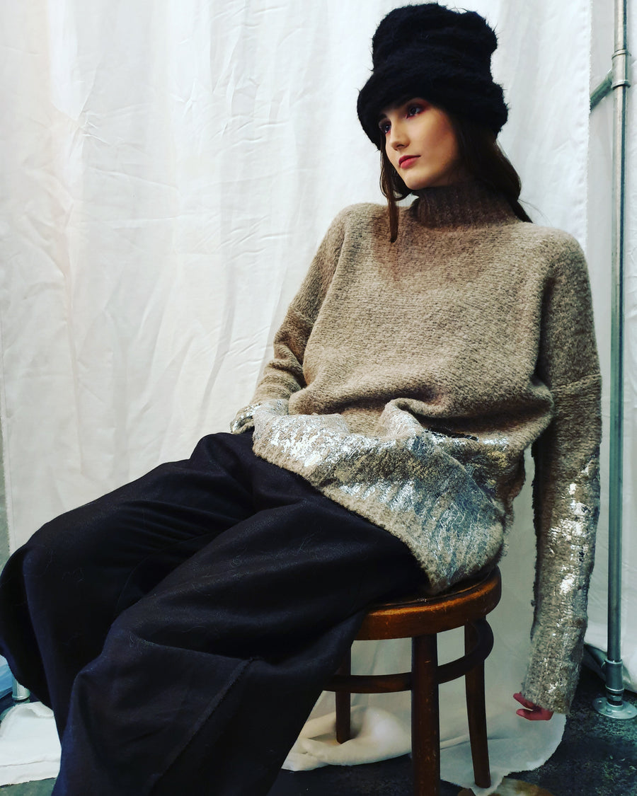 Alpaca colab funnel neck sweater in boucle with handprint foil detail