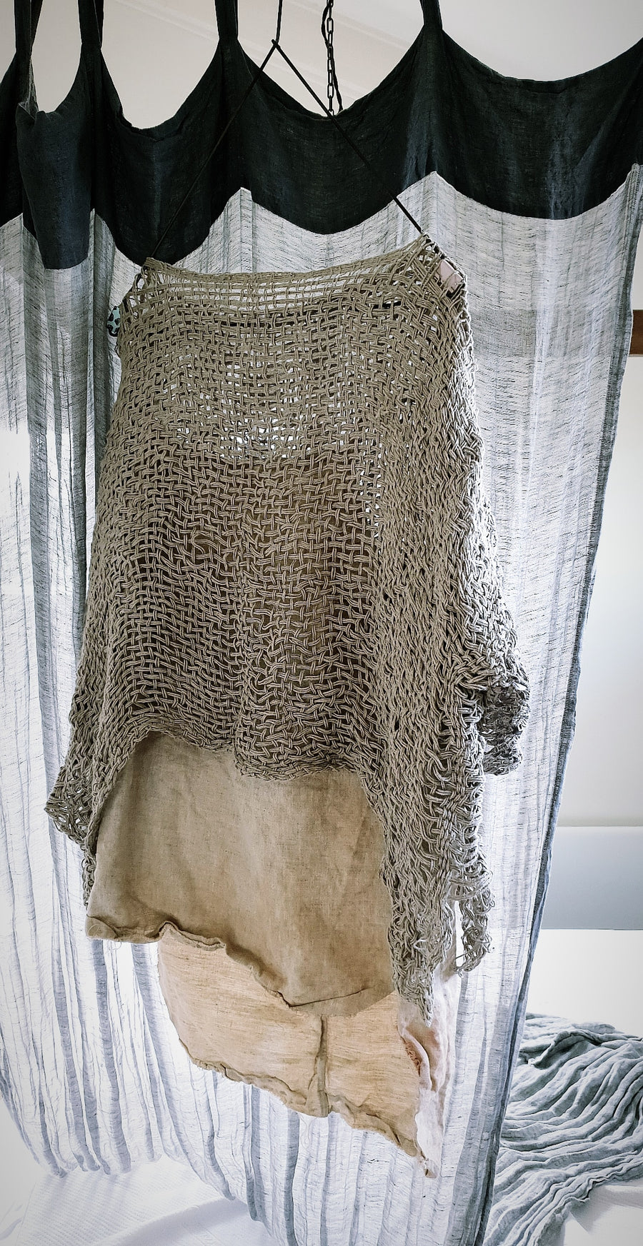 Amano hand loom linen crop top