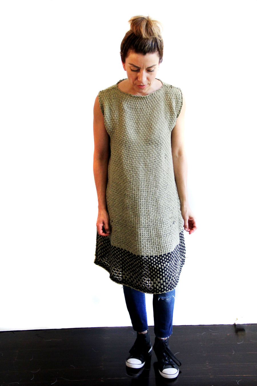 Amano distressed linen, loom woven bell dress