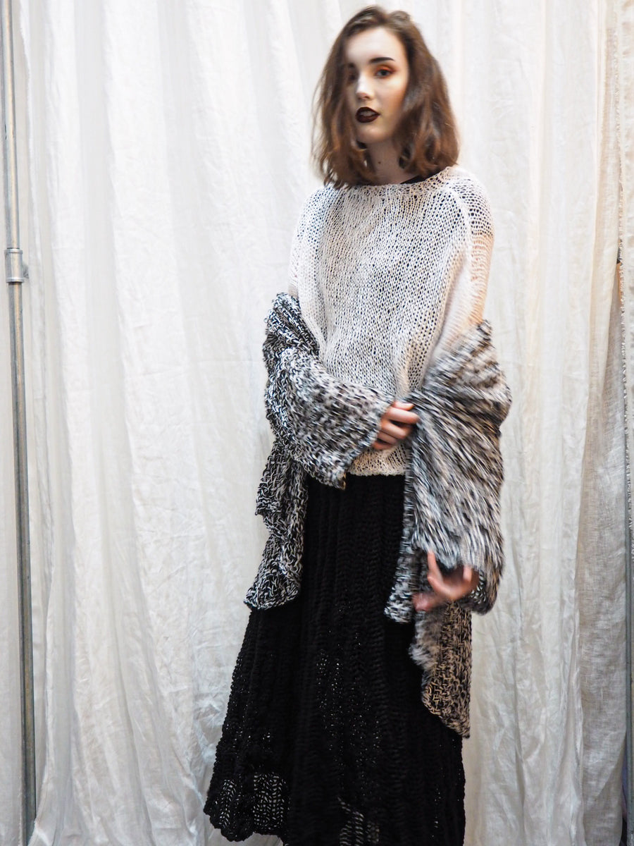 Amano handknit linen batwing sweater with foil