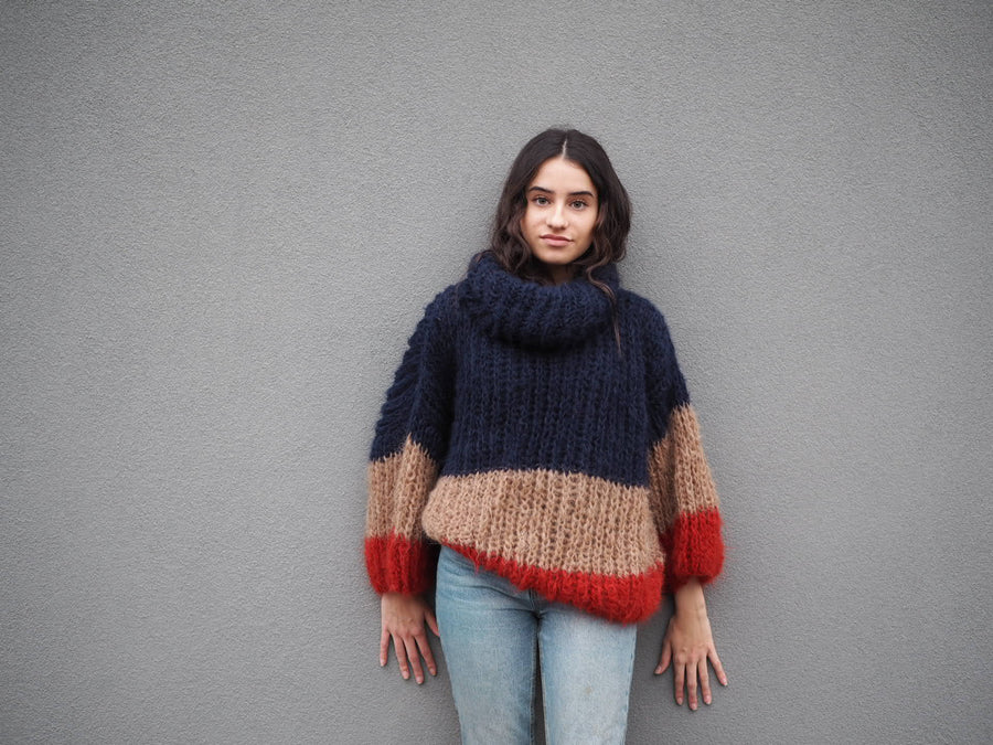 Amano stripe Alpaca handknit funnel neck sweater
