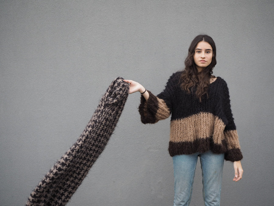 Amano hand knit alpaca V neck sweater
