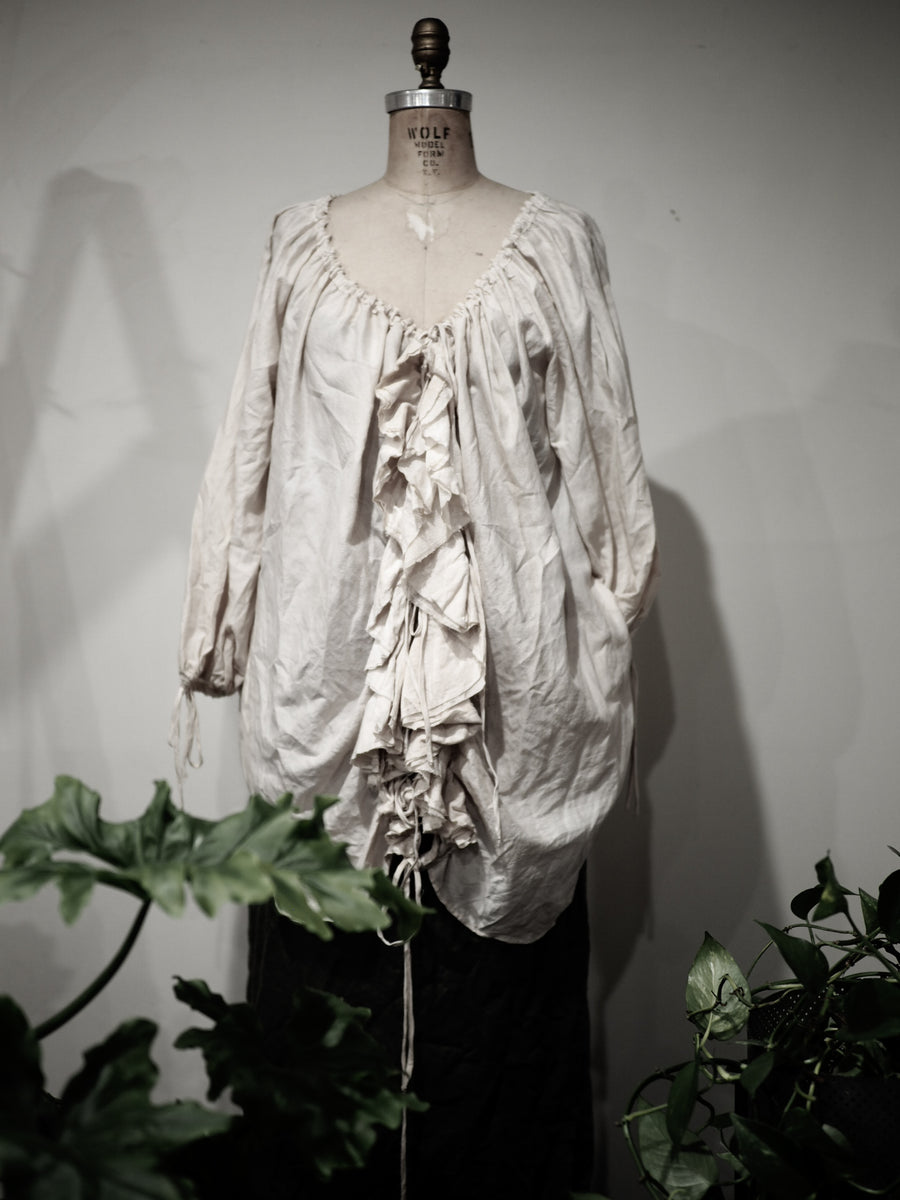 Amano silk/cotton Flounce blouse with pockets