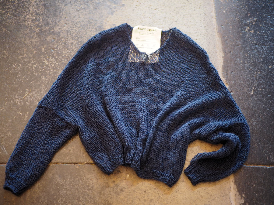 Amano linen hand-knit V neck top