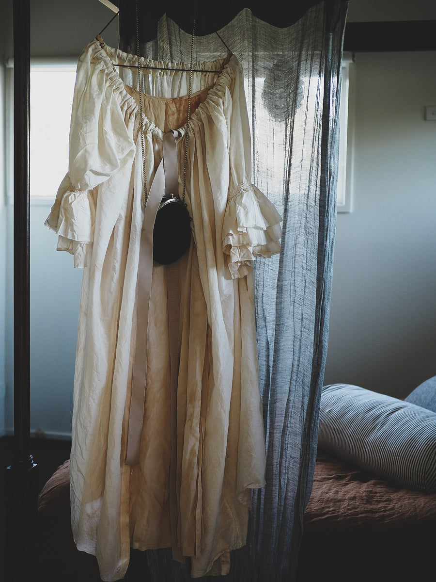 Amano silk/cotton button back bluson dress / duster