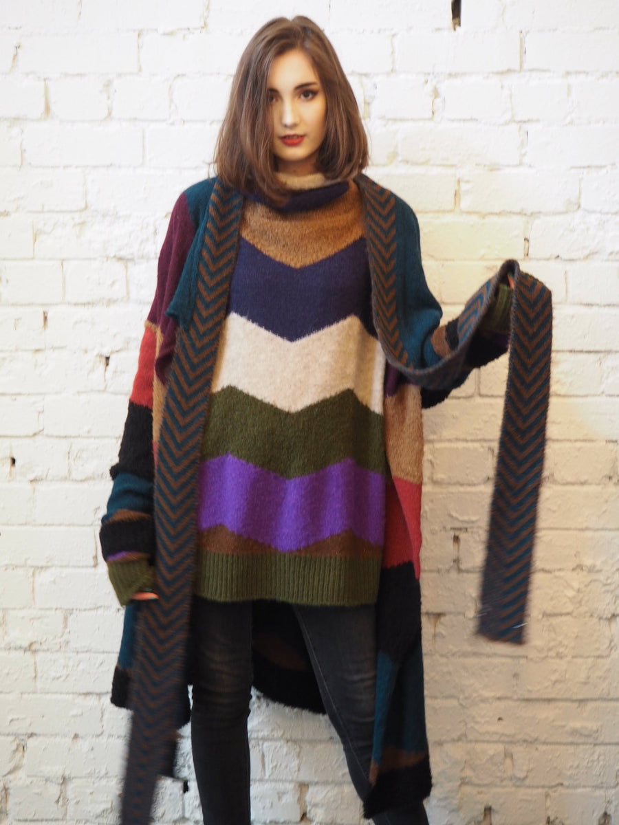 Amano colab chevron turtle neck knit sweater
