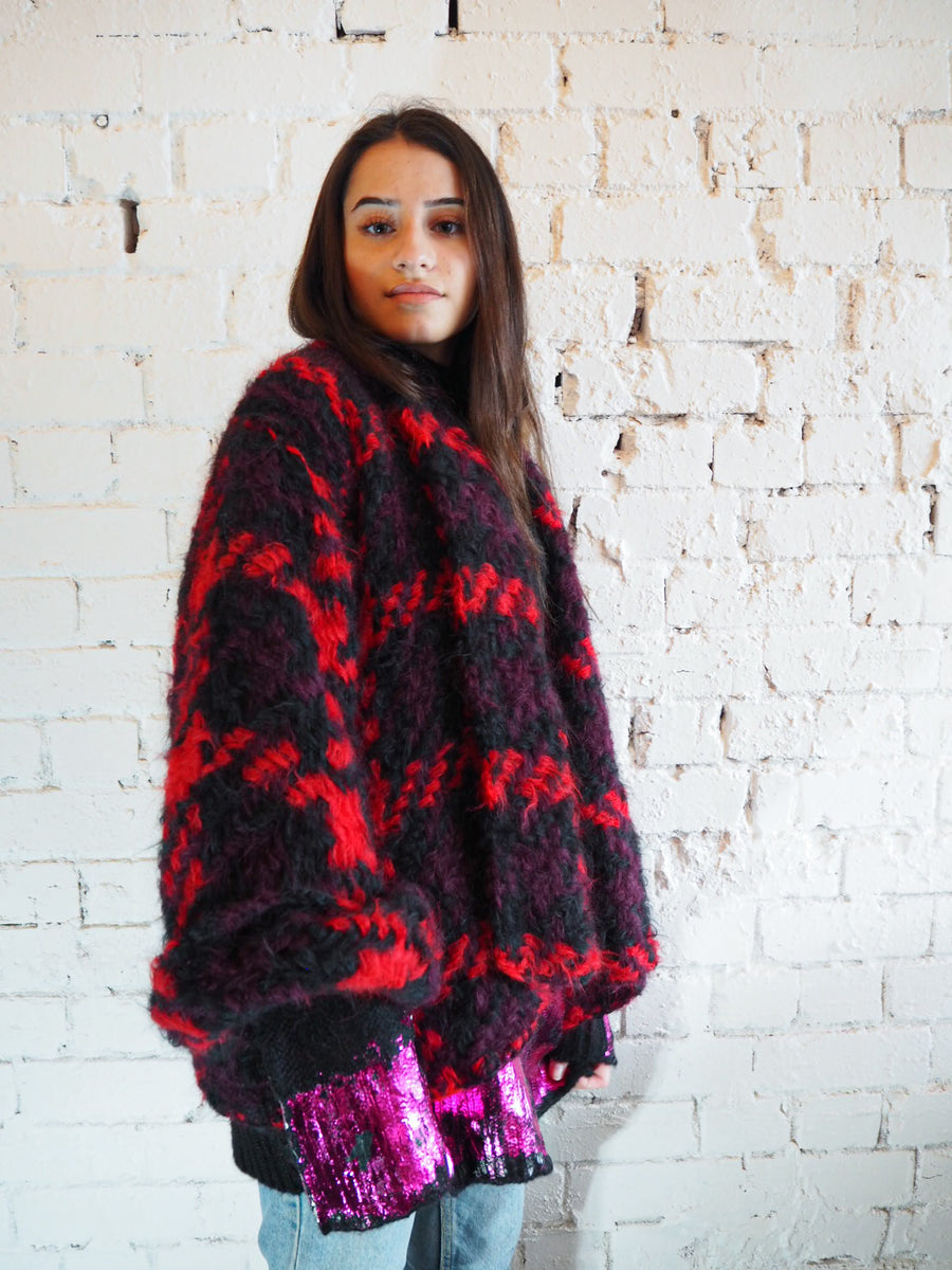 Amano alpaca houndstooth crop swing coat