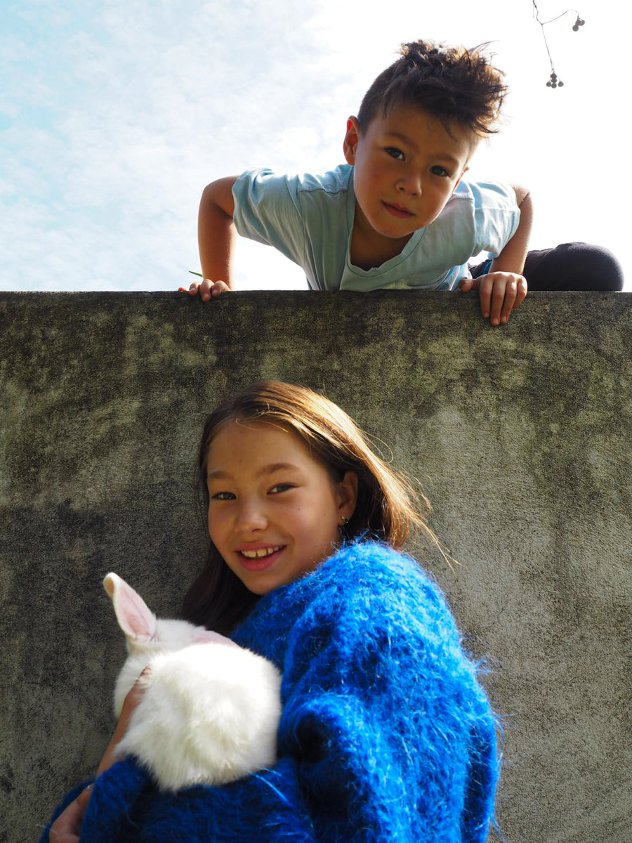 Amano Kids tie back Sweater in suri alpaca