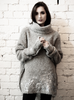amano by Lorena Laing foiled funnel neck astrakhan sweater