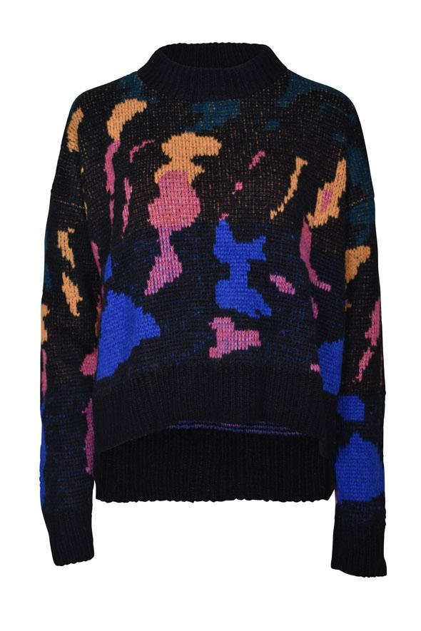 Amano colab paint splash jacquard crew neck sweater