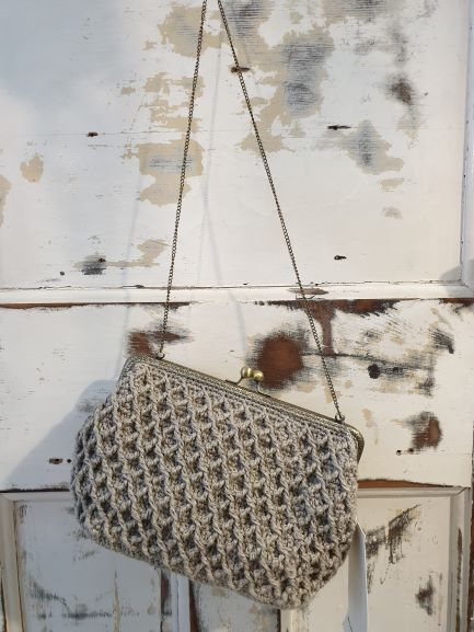 Amano hand crochet large rectangular linen handbag