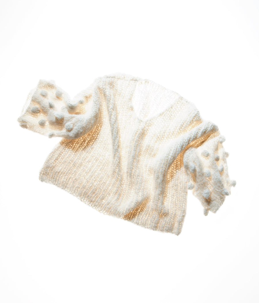 Amano hand knit popcorn sleeve sweater