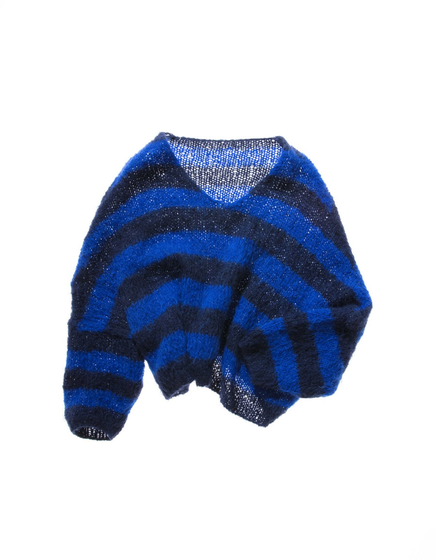Amano handknit stripe V neck batwing sweater