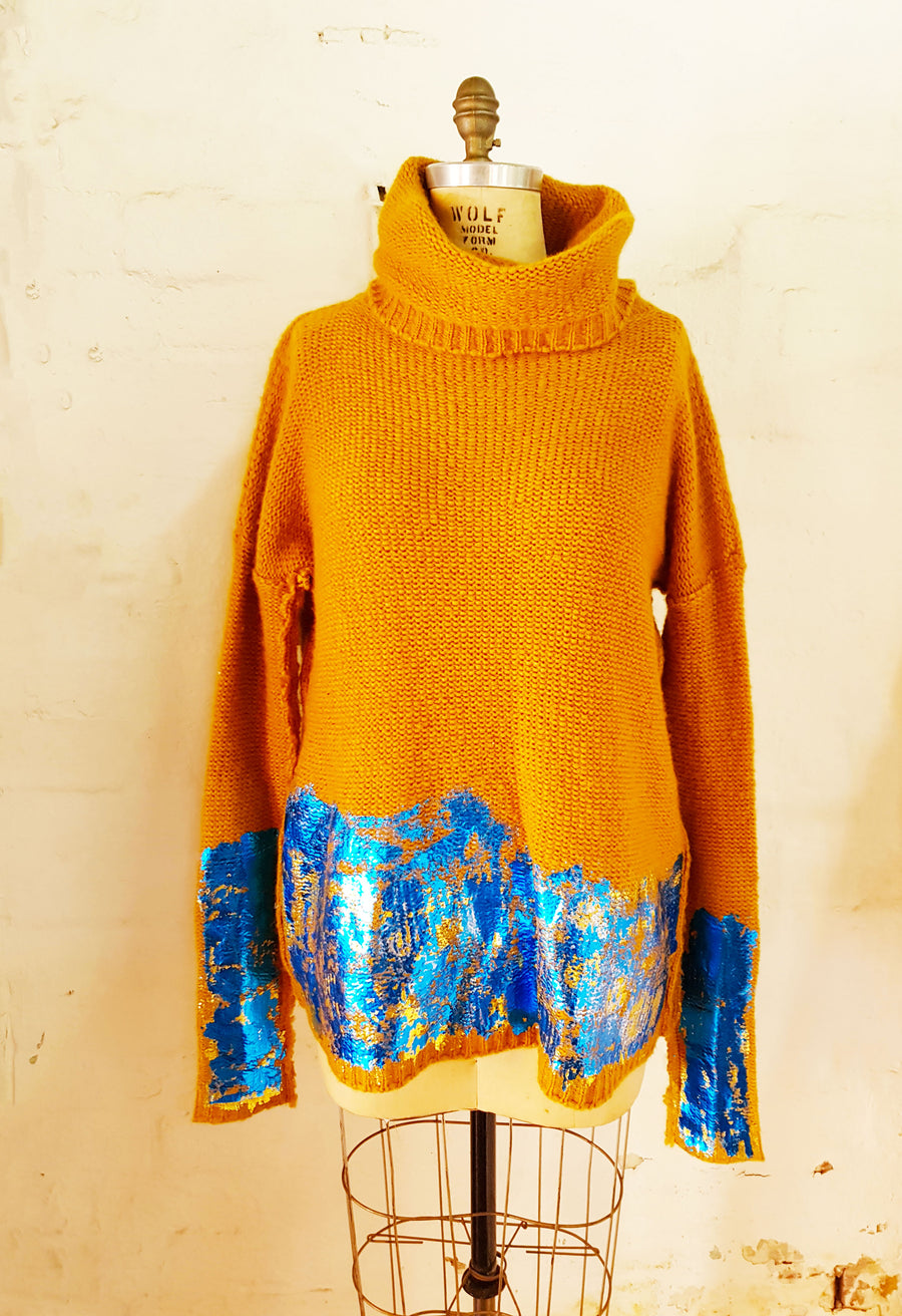 Amano alpaca turtleneck sweater w/ handprint foil