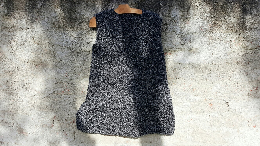 Amano handwoven shell vest with foil