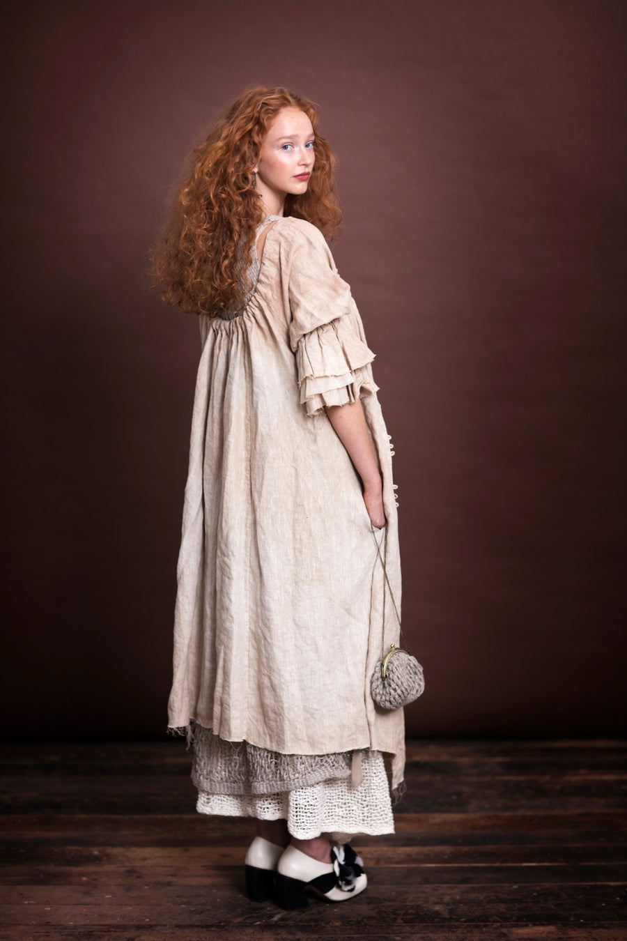 Amano linen button back bluson dress / duster