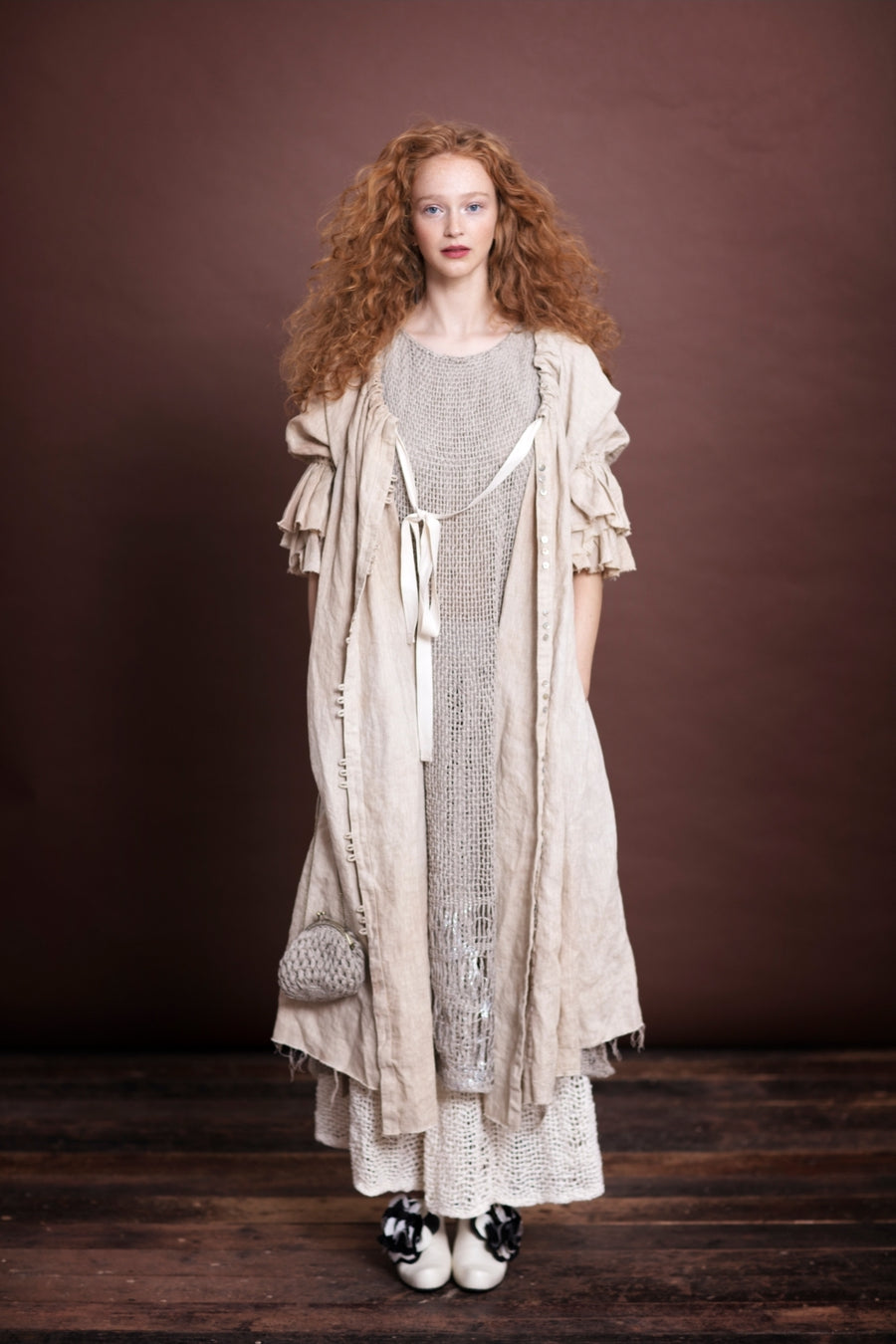 Amano linen button back dress / duster