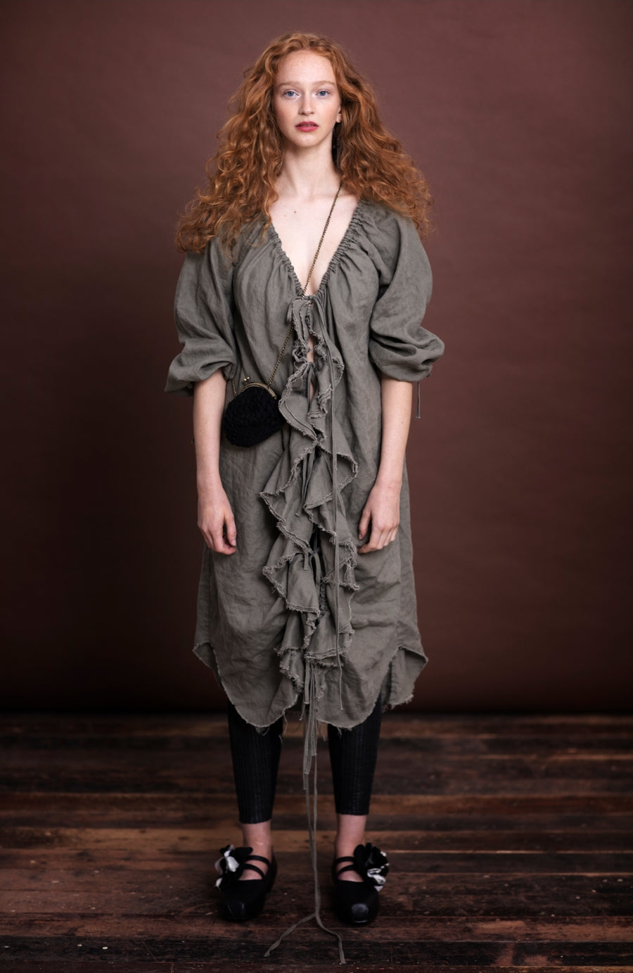 Amano linen Flounce dress / duster with pockets