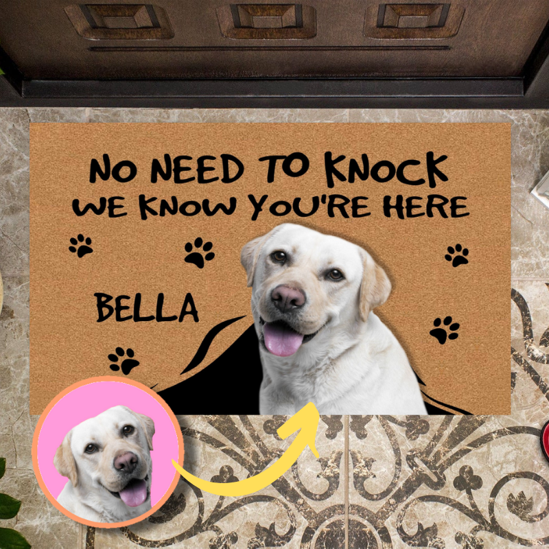 Customized Funny Dog Doormat - The Chubby Paw
