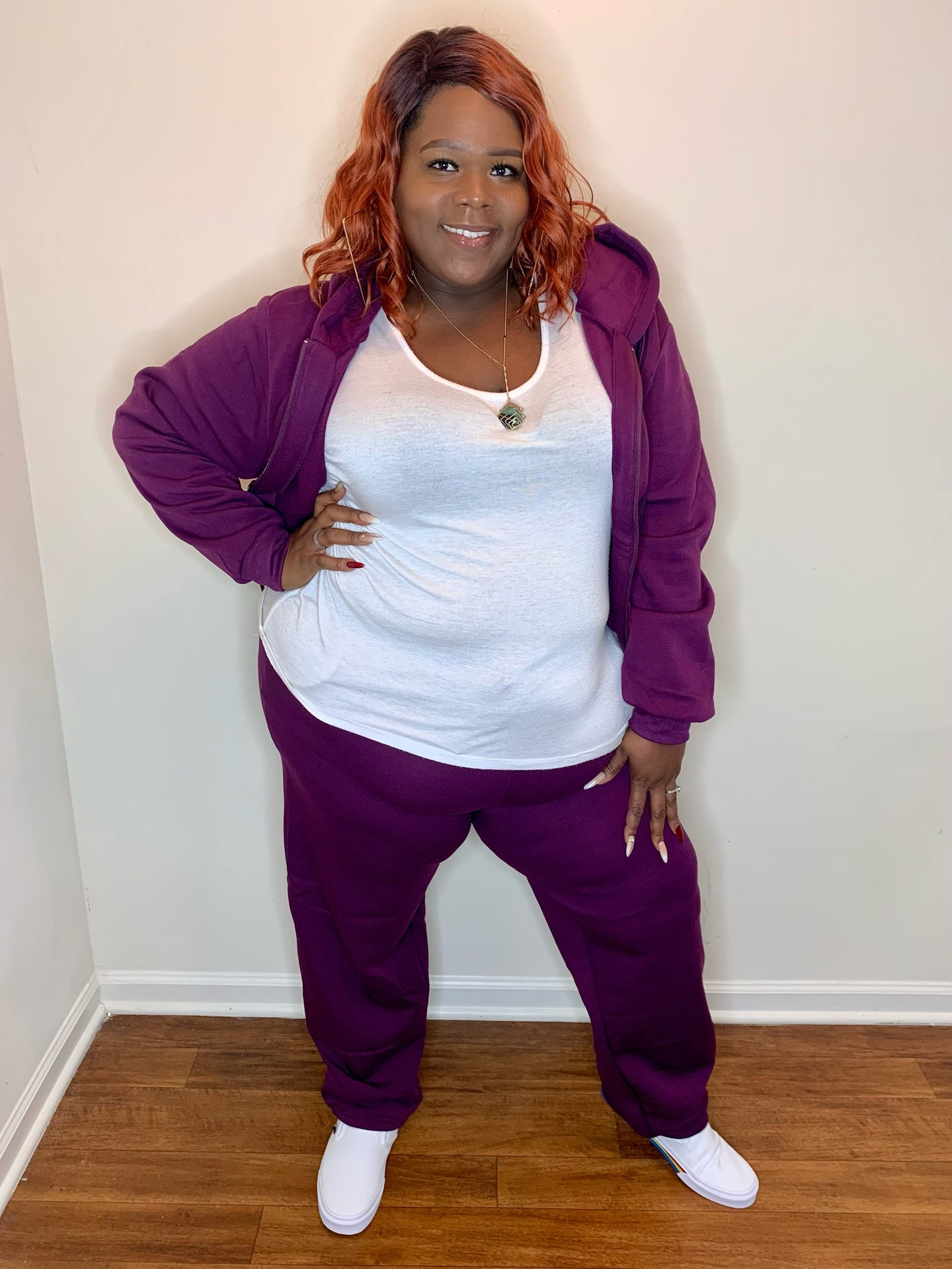 (Purple) Plus Size Fleece  - Sweatsuit