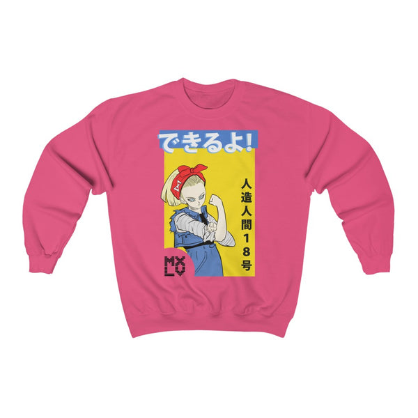 "Android 18 ""We can do it!"" Crew Neck Sweatshirt"