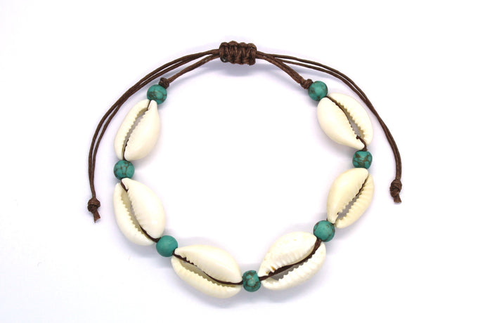 Cowrie shell and turquoise beach bracelet
