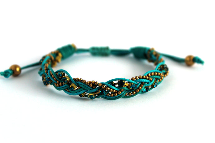 Braided bracelet T145 teal